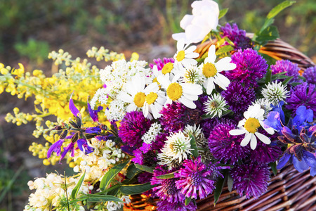 Summer Wild Colorful Flowers Basket,Natural and Scent Wildflowers Bouquet