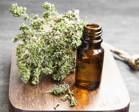 thyme: Thyme Herb Essential Oil Bottle on a Wooden Board Stock Photo