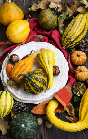 color: Autumn Decorations with Pumpkins, Dried Leaves, Chestnuts and Acorns in Wooden Background