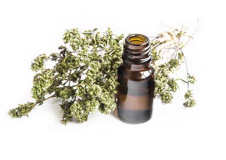 흰색 배경에 고립 백 리 향 나뭇 가지와 백 리 향의 에센셜 오일 병