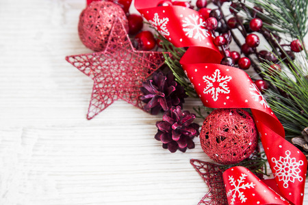 glitter ball: Festive Red Christmas Decoration with Ribbon and Glitter Ball Stock Photo