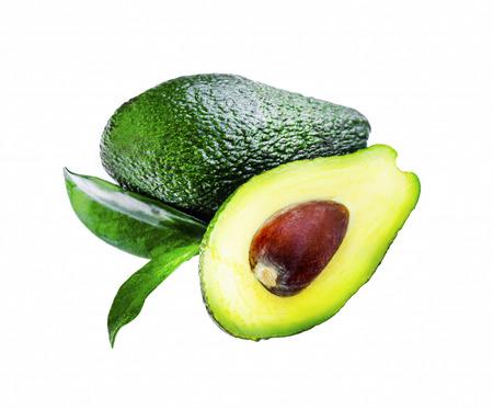 green background: Avocado fruit with leaf isolated on white Stock Photo