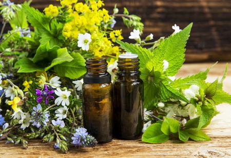 essence: Alternative herbal medicine with medicinal plants essence bottles