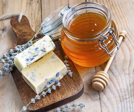 Natural homemade honey and lavender soaps, homemade spa setting
