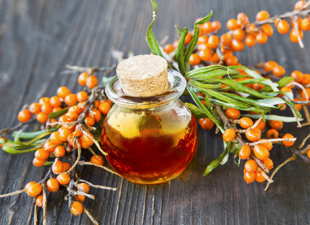 Seabuckthorn oil bottle with berries branches Imagens