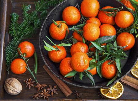 clementines: Clementines fruits with winter spices and fir tree branches