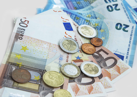 Euro currency money in coins and banknotes