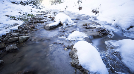 Winter landscape with frozen mountain creek,ice and snow