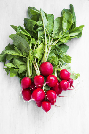 Bunch of organic radishes vegetables, bio and healthy