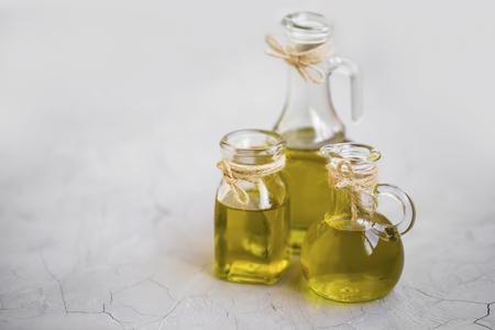 Olive oil bottles, organic greek or italian olive oil bottles  Archivio Fotografico