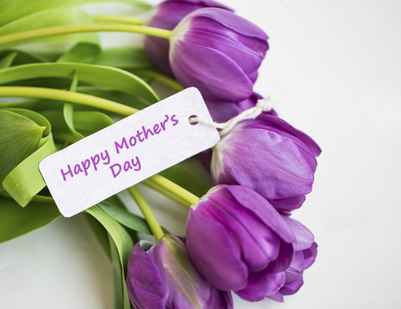Spring tulips bouquet with Happy mother's day card label , women's or mother's day holiday greeting with label card, beautiful spring holidays card with purple tulips flowers Standard-Bild - 118387910