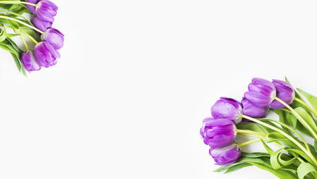 Spring purple tulips bouquet, spring flowers bouquet on white background, top view, spring greeting card Standard-Bild - 118387915