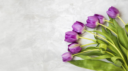 Spring purple tulips bouquet, spring flowers bouquet on grey concrete background, top view, spring greeting card with copy space Standard-Bild - 118387916