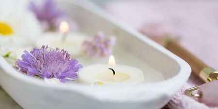 Spa still life with candle, aromatherapy spa setting