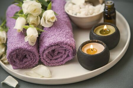 Spa still life with towels and candles