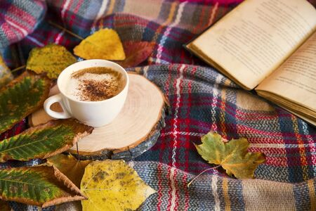 Autumn coffee cup with cozy blanket, fall deco warm home weekend with coffee cup, a book and dried leaves, autumn concept, cozy lifestyle rustic view