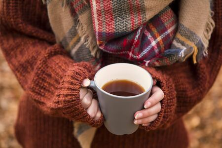Fall warm tea cup, woman holding cup of tea with warm cozy sweater and scarf, outdoor autumn concept tea cup