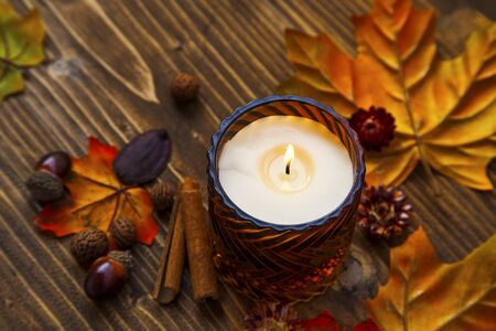 Fall candle decoration with dried leaves, autumn wooden home decor still life scented candle, autumn season interior decoration details