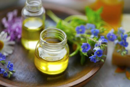 Oils and medicinal plants extracts, alternative medicine with natural herbal oils and tinctures