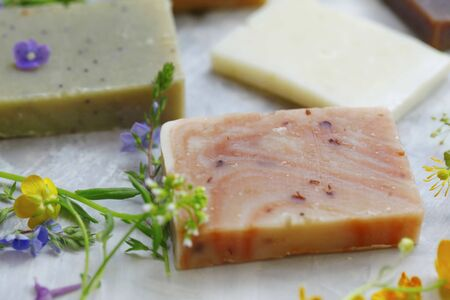 Natural soaps bars with floral oils and extracts, homemade natural organic bodycare products