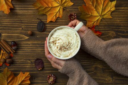 Autumn coffee cup, top view of woman hands holding hot cup of cappuccino with whipped cream and cinnamon on wooden table with dried leaves and autumnal decorations