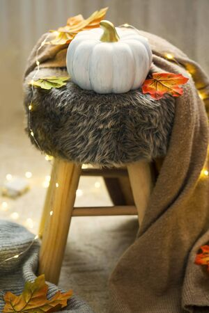 Cozy home interior with autumn decorations, still life details with pumpkin , lights, leaves and soft cardigan
