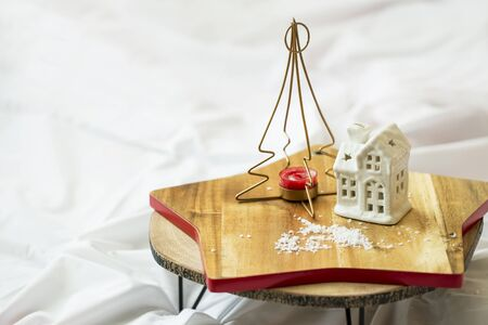 Festive home indoor decoration,still life winter season indoor decorations for Christmas holiday Stock Photo