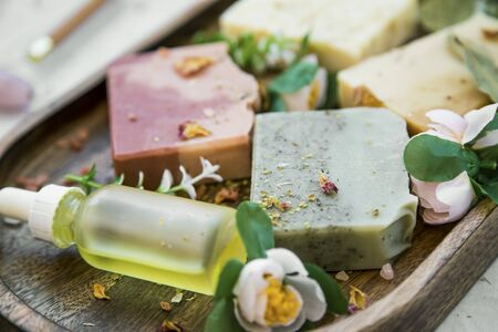 Organic natural soap bars with plants extracts, handmade soaps