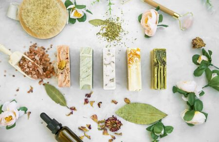 Organic natural soap bars with plants extracts, handmade soaps, top view