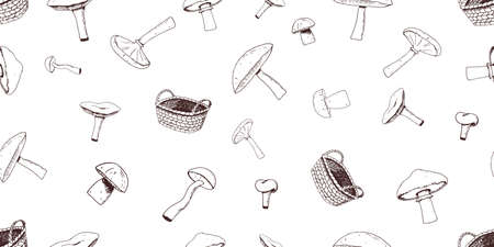 Seamless pattern of hand drawn mushrooms and wicker basket. Good for textile, wallpapers, gift wrap and scrapbook, for web card, poster, cover. Vector illustration.