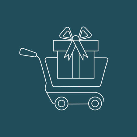 Vector Icon Shopping cart with gift box.Pictogram. Concept og mobile ordering Ilustracja