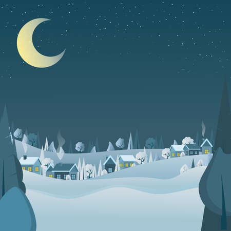 Winter night landscape with moon and village houses covered snow, and a pine forest, bushes and trees on horizon. Can use for website, as banner, gift paper, greeting card.