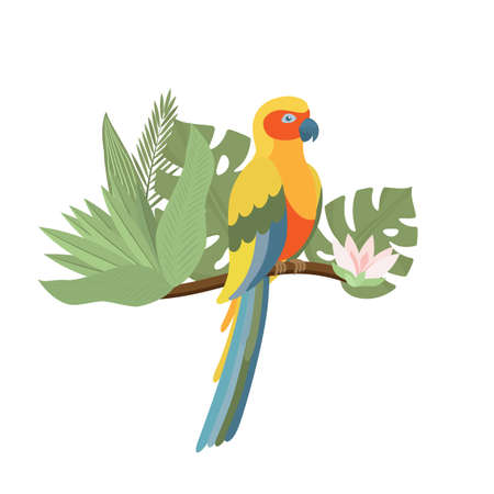 Exotic colorful parrot with palm and monstera leaves, exotic flower. Tropical bird. Trendy Cartoon Vector illustration. Isolated on white. Good for web and print