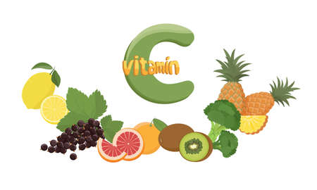 Set of vitamin C sources. Dietetic and vegetarian food composition. Vitamin c benefits and sources. Trendy vector illustration, isolated on white. Good for web and print