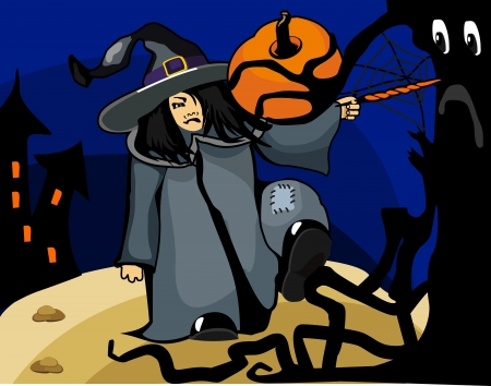 witch in a magical forest conjures magic wand in the woods the old castle Vector