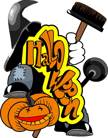 Spirit Halloween witch hat is on the pumpkin and holding a broom and plunger Vector