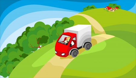 animation: truck driving on the road in a rural mentions in the fields and meadows in the distance  one can see farmhouses or village
