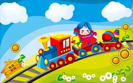 pl�schtier: Spielzeugeisenbahn Fahrten auf dem Feld in den Autos von Children s Spielzeug angetrieben Illustration