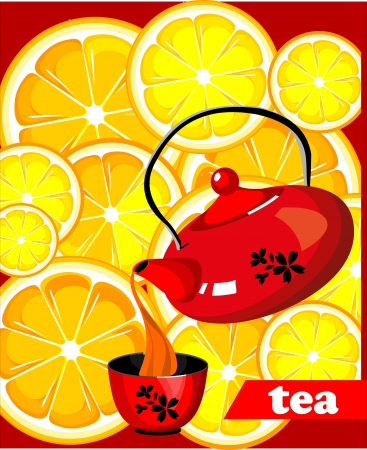 Background of the lemon slices Kettle pouring hot tea into a mug Vector