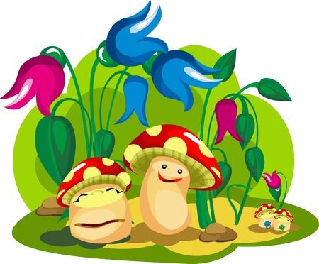 버섯과 곰팡이 어린 아이들이 문자의 색상 버섯 가족 생활,