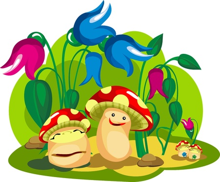 Mushroom family life in the colors of mushrooms and fungi young children character,