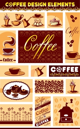 vector set of coffee accessories on separate planes Vector