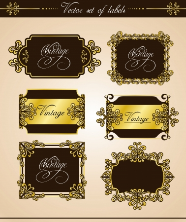 framework and a set of labels with elements of decoration Stock Vector - 18391417