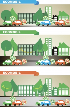 harm: cars in urban ecological fuel, do not harm the environment and the city trees they smile Illustration