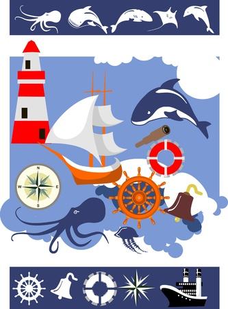 set van scheepsbenodigdheden, marine achtergrond, schepen silhouetten van zeedieren