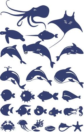 pez martillo: Conjunto estilizada de animales marinos y peces hizo sobre un fondo blanco en azul