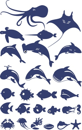 hammerhead shark: stylized set of marine animals and fish made on a white background in blue Illustration