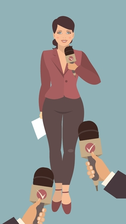 young business woman in full growth standing in front of his hands with microphones gives interviews Vector