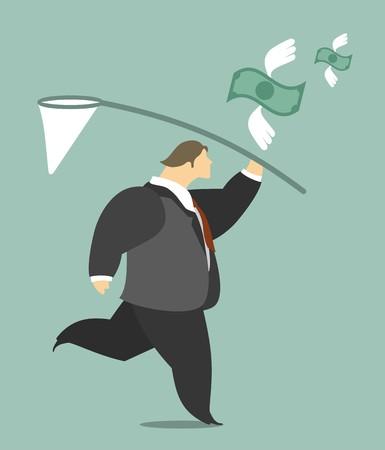 rejoicing: Businessman gioia per il suo successo con banconote da cento euro che vola in aria Vettoriali