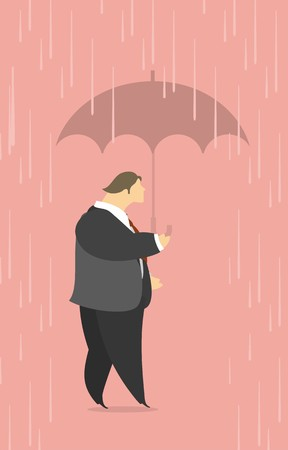 windfall: stylized man in a suit comes under an umbrella in the rain